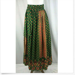 Vtg 70's Maxi Wrap Skirt Colorful Boho Sz 9